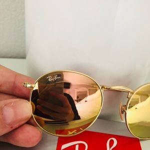 Ray-Ban Accessories - Ray Ban gold round sunglasses with pink lenses
